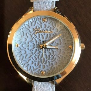 Geneva Watch Gray Band and face with lace